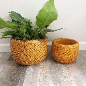 Vintage Wicker Set Plant Holder Basket Boho Decor